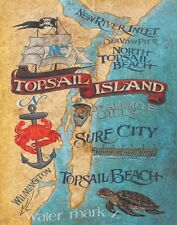 Topsail Island NC beach map Print-Poster art decor vintage style  artist  surf