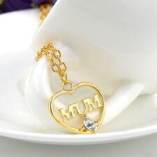 MAMA MUTTI MOM Herz Kette mit Strass Halskette Farbe Gold Neu 1254