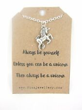 "Girls Silver Unicorn Charm 18"" Necklace New on ""Always Be a Unicorn"" Card"