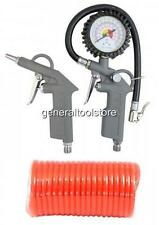 AIR TOOL KIT. TYRE INFLATOR WITH PRESSURE GAUGE ,  BLOW GUN &  RECOIL AIR HOSE