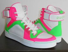 Auth GUCCI Men's Neon Leather High-Top Sneakers ~ Sz 9G (US 10) ~ $865 NIB