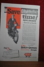 1927 HARLEY DAVIDSON MAGAZINE AD, MAN IN SUIT ON NEW SINGLE MODEL