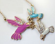 N703 Betsey Johnson Messenger Pigeon Bird Swallow Kissing Birds Necklace  US