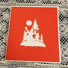 Vintage Greeting Card Christmas White Snowman Red Background