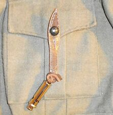 WW1-WW2 OFFICERS WHISTLE WITH LEATHER BUTTON STRAP - NEW MADE NICKLE REPRO