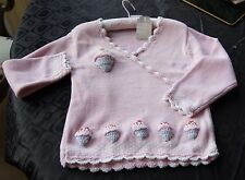 Powell Craft Pink Hand Knitted Jumper With Cup Cakes Age 6-7
