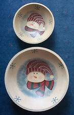 """set of 2 Christmas snowman snowflake wooden serving bowls 12"""" and 8½"""""""