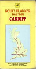 AA Route Planner To & From Cardiff Shows Mileage and Recommended Routes 1986