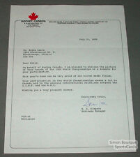 1989 Team Canada Hockey Signed Letter By S.G. Simpson
