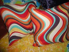 PIER 1 RETRO PSYCHEDELIC WAVES BOHO BOHEMIAN TEAL GREEN RED (PAIR) THROW PILLOWS