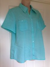 NWD Daxon Turquoise Short Sleeve Shirt With White Polka Dots And Pockets Size 16