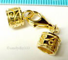 1x REAL 18K GOLD plated STERLING SILVER END CAP 5.4mm CORD LOBSTER CLASP G111