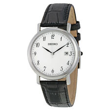 Seiko White Dial Black Leather Ladies Watch SKK647