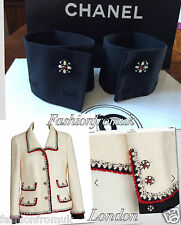 CHANEL BLACK SILK JEWELED CC BUTTONS CUFFS FOR JACKET