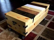 trunk-COFFEE TABLE industral/rustic.On Wheels.Made w/ReclaimWood,Vintage Handles