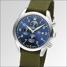 Laco 42mm Atlanta Blue Dial Chronograph Watch with 12-hour Totalizer #861919