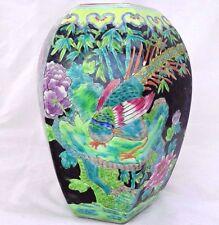 Large Antique Chinese Porcelain Noir Ovoid Jar HP Peacocks Tongzhi Mark 19thC 同志
