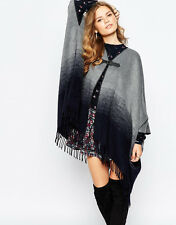 PEPE JEANS STRIPE OMBRE WOOL BLANKET PONCHO WITH FRINGE, ONE SIZE