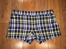 JOIE Merci Plaid Shorts in Dark Navy Size 4