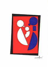 ORIGINAL ART -- Abstract -- Man, Woman, Child, Family