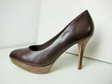 Tamaris High Heel Plateau Leder Pumps braun gold  38 Platform shoes mocca Marine