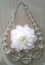 VTG CLEAR FACETED & LRG ROUND FAUX POOLS OF LIGHT STYLE LUCITE PLASTIC NECKLACE