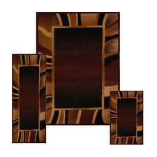 Brown Contemporary Border 3 Pcs Area Rug Set Modern Stripes Runner Combo Ca