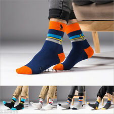 5 Pairs Lot Mens Business Casual cross Crew Combed Cotton Socks HJC Polo sport