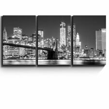 "3 Piece Canvas - Black and white Manhattan Skyline and Brooklyn Bridge-16""x24""x3"