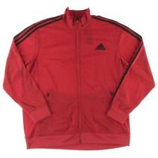 Adidas 7509 Mens Red Striped Embroidered Zipper Track Jacket 2XL