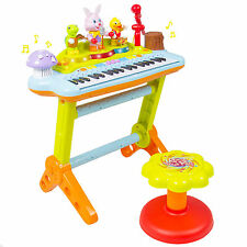 Kids Musical Electronic Keyboard Organ Microphone, Stool, Teaching Light up