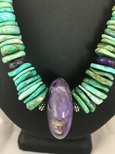 Native American Purple Sugilite Turquoise  Sterling Silver Necklace
