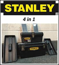 "STANLEY PRO 20"" 4 in 1 TOOL BOX LARGE SMALL DIY STORAGE CARRY CHEST WITH HANDLE"