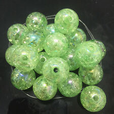 10pcs green Crackle Glass Round 16mm Beads Jewelry Findings Craft Bead Supply @1