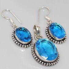 Faceted Paris Blue Quartz zopaz Silver plated Pendant Earrings Set (AE9251)