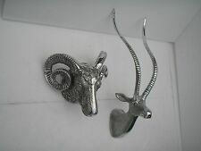 Metal Wall Mounted Stag Head With Ram Head Deer Sculpture fx