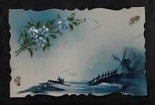C1916 French plastic decorative card - Windmill & flowers