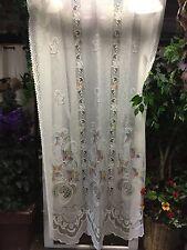 """Vintage Victorian  Net Floral Lace w/ Pastels Drapes Curtains 40"""" x 63"""""""
