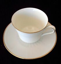 BAREUTHER WALDSASSEN  Cup & Saucer  Bavaria Germany WHITE WITH GOLD TRIM