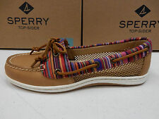 SPERRY TOP SIDER WOMENS BOAT SHOES FIREFISH STRIPE MULTI TAN SIZE 8