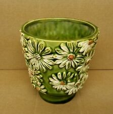 Vintage Pot Planter Vase w Yellow Daisies 5475