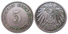 J 12   5 Pfennig KAISERREICH 1900 E in SS+  502923
