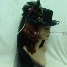Victorian Steampunk Edwardian style riding top hat Black burgundy rose pink
