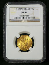 1913 GOLD, 10 GULDEN NETHERLANDS, NGC MS65
