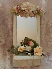 SHABBY CHIC FLORAL WALL SHELF WITH MIRROR