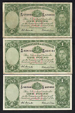 Australia R-32. (1952) One Pound - Coombs/Wilson.. George VI x 3 Notes.