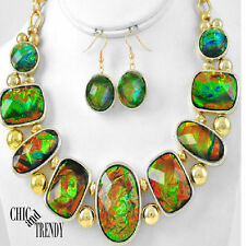 DEEP OCEAN GREEN / RED FIRE IREDESCENT LARGE GEMS CHUNKY NECKLACE JEWELRY SET
