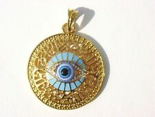 GOLD FILLED TURQUOISE BLUE LUCKY ITALIAN DESIGN EVIL EYE PENDANT NECKLACE GREECE