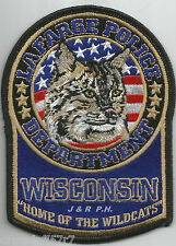 """Lafarge, WI  """"Home of Wildcats""""  (3.75"""" x 5"""" size)  shoulder police patch (fire)"""