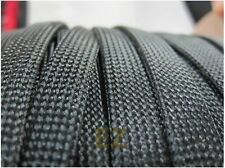 25mm x 5m BLACK Expandable Braided DENSE PET Cable Sleeving High Density 3 Weave